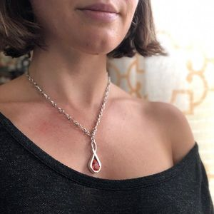 PIERRE LANG rhodium plated necklace w. red stone